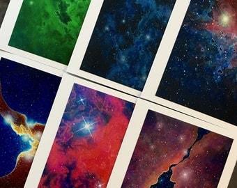 Space Nebula Note Cards, Set of 6 (Set B)