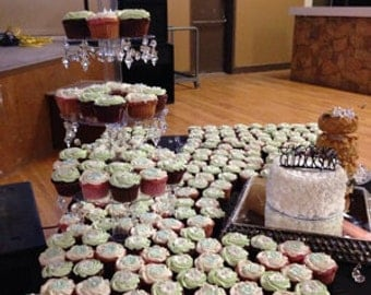 Glamorous 5 Tier Crystal Valance & Prism Cupcake Tower Stand Wedding and Events Dessert Tower