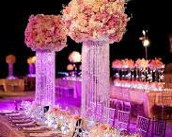 "24"" Glamorous Column Enchanted Chandelier Centerpiece Wedding & Special Occasion Centerpiece"