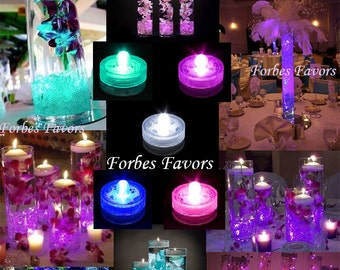 SET of 20 Waterproof Wedding Underwater Battery Sub LED Purple, Pink, Teal, Blue or White Lights