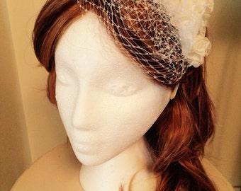 Vintage Style Flower Girl Bridal Birdcage Veil Flower Headband