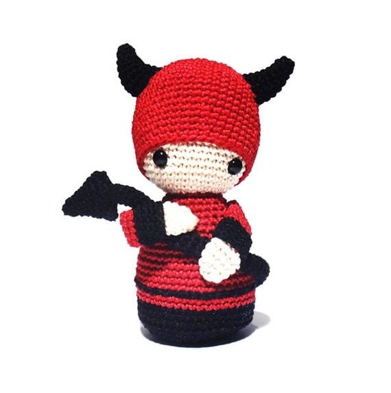 DEVIL Crochet Pattern Kokeshi Doll