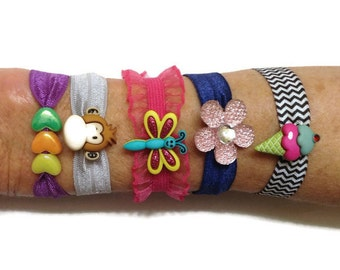 Bling Hair Ties for Girls, Butterfly Hair tie and Braclet, Childrens Bling, Monkey, Butterfly, Flower, Ice Cream Cone Hair Ties, Braclet