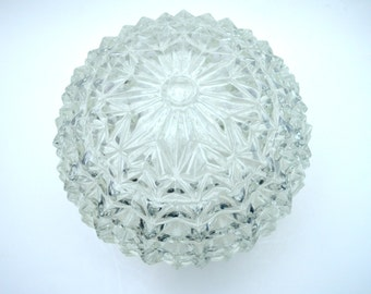 Vintage Pressed Glass Globe Light Fixture Cover, Large Mid Century Ceiling Light Cover, circa 1950s-1960s