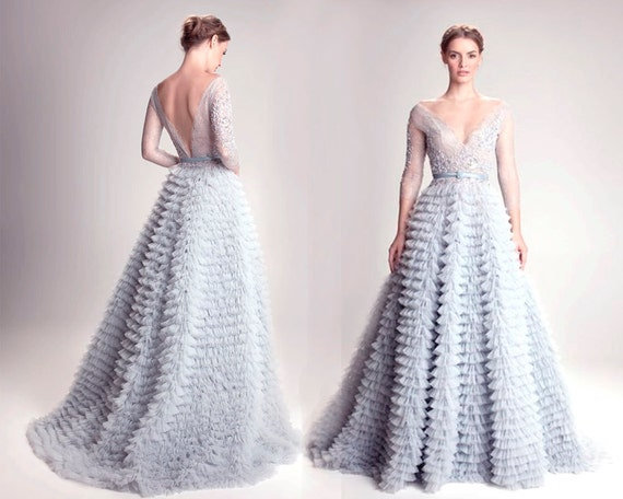 gray blue wedding dress