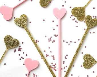 Heart Swizzle Sticks,Love,Drink Stirrer, Perfect Weddings, Bridal Shower, Engagement Party, Stir Sticks, Bachelorette,Laser Cut, 50 Pk
