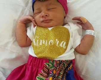 Baby Girl Skirt & Matching Headwrap (newborn, 0-3, 3-6, 6-12mths) African Print Pink, Purple, White, Green or Orange Dashiki or Yellow Kente
