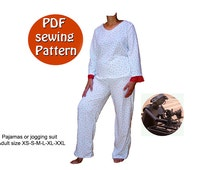 Instant download PDF style sewing pattern DIY Women's pajamas or jogging suit Small, medium, large & plus size 4-26 Canadian Etsy seller