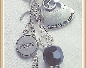 Novelty 'Hippy' Keyring/Bag Charms, Heart, Hippie, Peace, Fun Gift, Handbag Charm, Goth's Key Ring/Bag Charm,