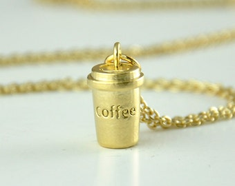 Coffee Necklace, Latte Necklace, Coffee Lovers, Coffee Pendant, Cafe Jewelry, Cup of Coffee Necklace, Birthday, Gift, Accessory, Jewelry