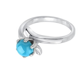 Tousi Jewelers Turquoise Ring Gold - Solid 14k White Gold Weeding Band for Everyday - December Birthstone Anniversary Gift