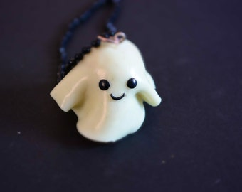 Cute Polymer Clay Sheet Ghostie Necklace