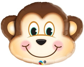 "Monkey Balloons, 30"", Monkey Head Balloon, Safari Party, Zoo Party, Zoo animals, animals, Balloons, Balloon, Monkey,  Helium Balloon"