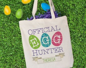 Official Easter Egg Personalized Tote Bag, Easter Bag, Easter Egg Hunt Bag