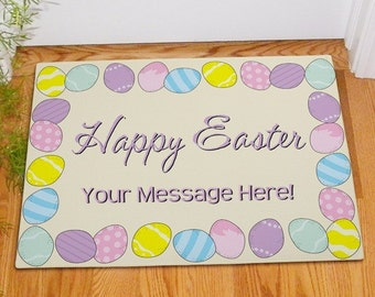 Happy Easter Personalized Doormat, Personalized Easter Doormat