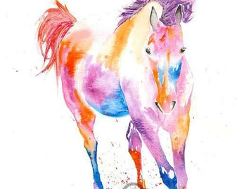 Signed  PRINT of my original watercolour  horse trotting gift art