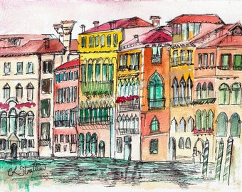 Venice Street, Italy Venezia. - Giclee Print of Original Watercolour and Indian Ink Painting by English Artist Claire Strickland