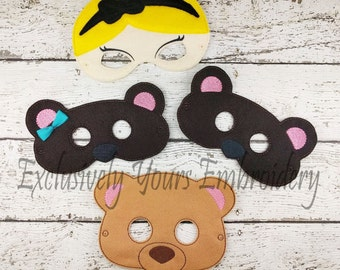 4 Piece Goldilocks and the Three Bears  Children's Felt Mask Set