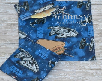 Star Wars,  Lunch set, reusable sandwich bag, reusable snack bag, cloth napkin, snadwich bag, snack bag, ecofriendly lunch set