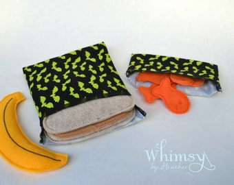Bat sandwich bags, Bats, Lunch set, reusable sandwich bag, reusable snack bag, ecofriendly lunch set