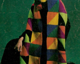 Knitted Scarf and Hat ... 9 Foot Long Patchwork Scarf and Hat ... Vintage PDF Knitting Pattern  ... Warm Winter Knit ... Instant Download
