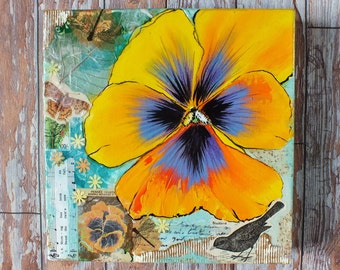 Yellow pansy artwork mixed media collage painting collage, blackbird nature floral, morning has broken, duck egg blue & yellow, bird art