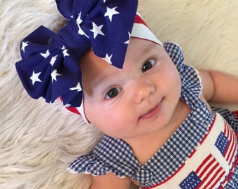 Red, White and Blue Americana Messy Bow Headband