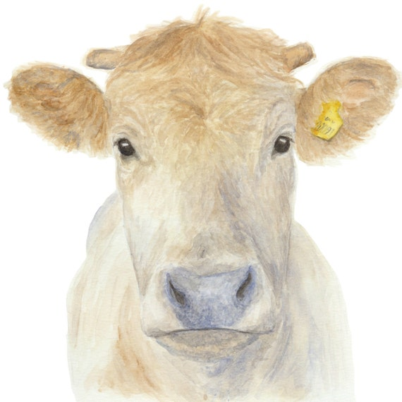 Cow Painting Watercolor Cow Rustic Home Decor Cow By