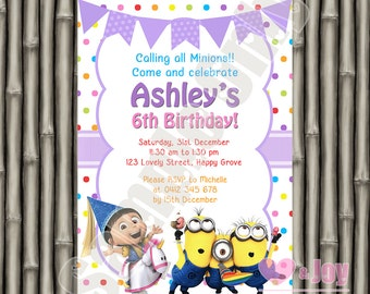Agnes & Minions Invitation, Despicable Me Agnes Unicorn Invite, Birthday Invitation, Birthday Invite, Rainbow, Polka Dots, PRINTABLE