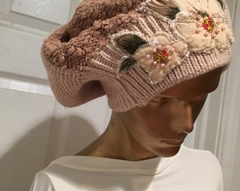 Hand made knit hat repurposed sweater upcycled