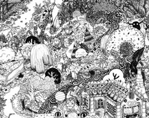 Lindsey's Hansel and Gretel pen and ink illustrated PRINT Doodle fairytale landscape various sizes available map candy witch seek find woods