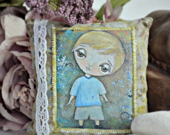 Scented pincushion with fabric print of my original artwork 'City Boy'