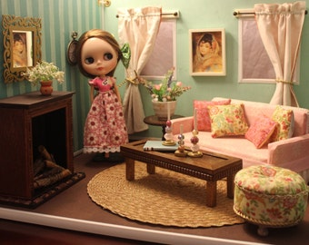 Custom Blythe/Barbie Doll Livingroom Diorama Furniture, 1:6 Scale