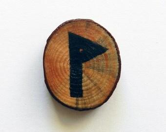 """Handmade Pine Wood  Chip """"Joy"""" Rune Fridge Magnet, Christmas Gift, Gift for Her, Handmade Gift, Handcrafted Gift"""