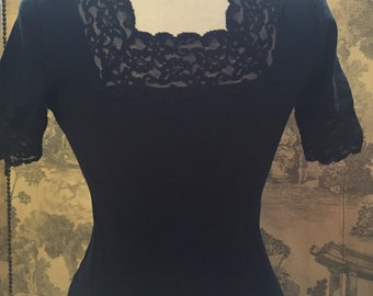 Black 1990s T-shirt with lace sleeves and neck line