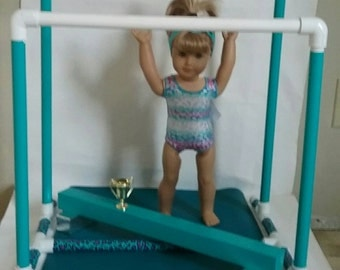 Uneven Bars, Balance Beam Gymnastic set For American Girl Doll Gymnastics+ Leotard/Headband, Mat, Trophy!
