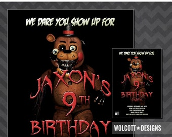 Five Nights at Freddy's Invitation, Fazzbear Invitation, Five Nights at Freddy's Party