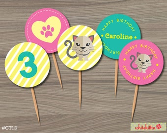 Cat Kitten Printable Cupcake Toppers