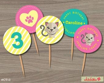 Cat Kitten Printable Cupcake Toppers