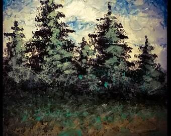 "Dusk! Impressionism!  Tile painting!!! 6""×8"""