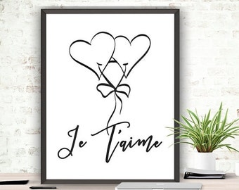SALE Printable Art Je T'aime Print Instant Download French Inspirational Quote Valentines Day Love Printable Wedding Printable