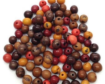 100 Azai beads, Brown mixture, 5mm, 100 pieces, seeds beads, acai, seeds, seed beads, rain forest, natural beads, natural beads, red, orange