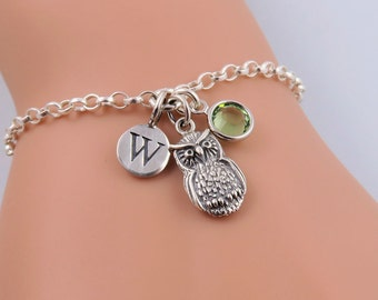 Silver Owl Bracelet, Tiny Owl Charm Bracelet, Sterling Silver Owl Jewelry, Wise Owl, Bird Bracelet, Personalized Owl, Birthstone Bracelet