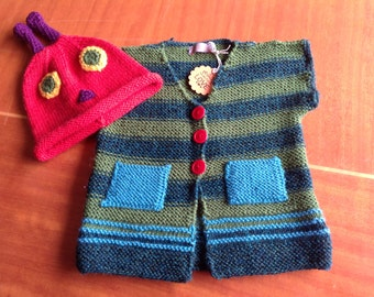 Hungry caterpillar vest and hat set