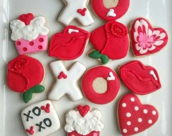 Valentine's Day Mini sugar cookies bite size or large hearts, roses, xoxowith royal icing