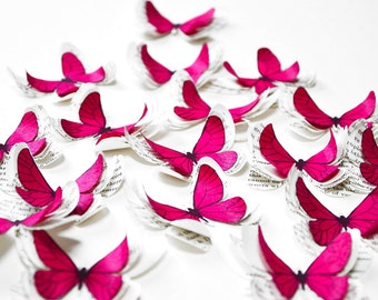 Butterfly party decorations, fuchsia butterflies, paper wedding decorations, pink butterflies, butterfly party decor, birthday party decor