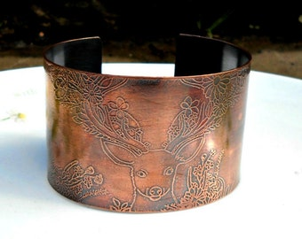 Copper Etched Stag Bracelet, Copper Stag Bracelet, Etched Stag Bracelet, Etched Stag Cuff, Stag Bangle, Copper Stag Cuff, Sister Gift.