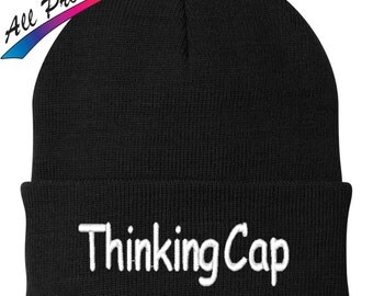 Thinking Cap Embroidered Beanie Funny College Humor Gift One Size Fits Most