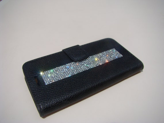"iPhone 6 / 6s 4.7"" Clear Diamond Rhinestone Crystals on Black Wallet Case. Velvet/Silk Pouch bag Included, Genuine Rangsee Crystal Case"