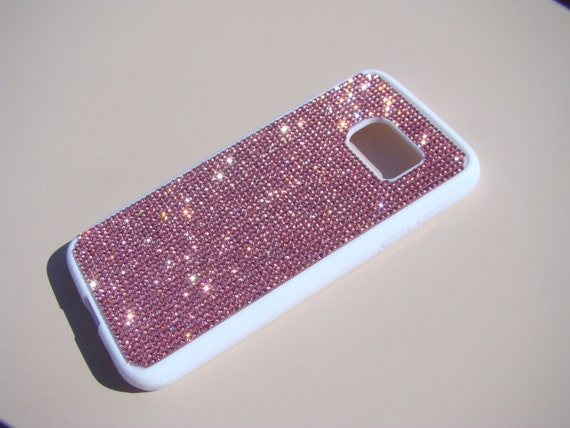 Galaxy S7 Pink Diamond Crystals on White Rubber Case. Velvet/Silk Pouch Bag Included, Genuine Rangsee Crystal Cases.
